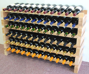 Modular Wine Rack 72 Bottles 6 Rows Solid Beachwood