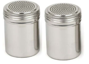 2 NEW STAINLESS SALT PEPPER SUGAR SHAKER DREDGE