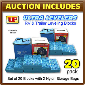 Ultra-Fab-Leveler-Blocks-20-PACK-w-2-Vinyl-Cases-RV-Trailer-Camper-Leveling