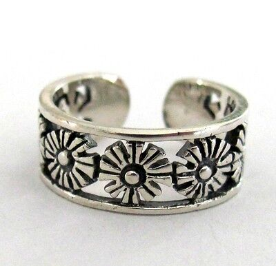 Sterling Silver 7 Flower filigree adjustable toe ring