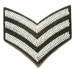 SERGEANT-STRIPES-CLOTH-BADGE-olive-military-embroidered-sew-on-patch-army-jacket
