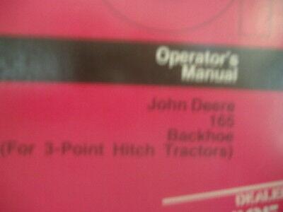 John Deere 165 Backhoe 3 Pt Tractors Operators Manua