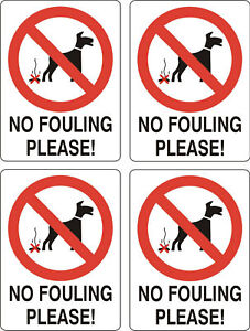 No-Dog-Fouling-sticker-X-4-10cmx8cm-sign-warning-self-adhesive-decal