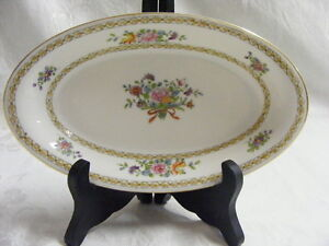Vintage-Nippon-China-10th-Mark-White-with-Floral-Boquet-Relish-Celery-Dish-1920