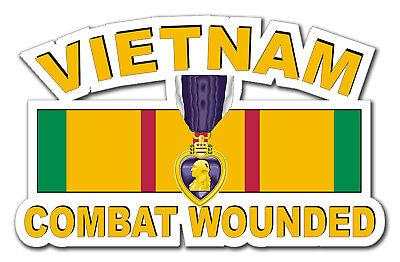 """Purple Heart Vietnam Combat Veteran 5.5"""" Window Sticker Decal"""