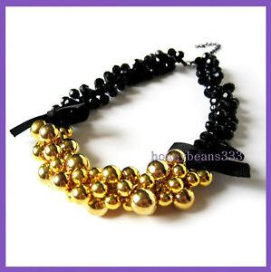 Cluster-Gold-Bead-Black-Cocktail-Bib-Choker-Necklace-V7