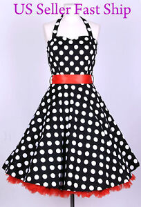50S-BigWhiteDot-Size-1X-Vintage-Rockabilly-Pinup-Retro-Polka-Dots-Swing-Dress