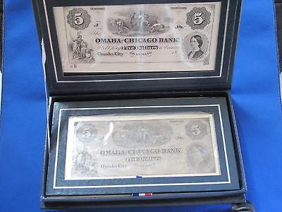 Omaha And Chicago Bank Nebraska Territory  5 Commemorative Silver Note B5228