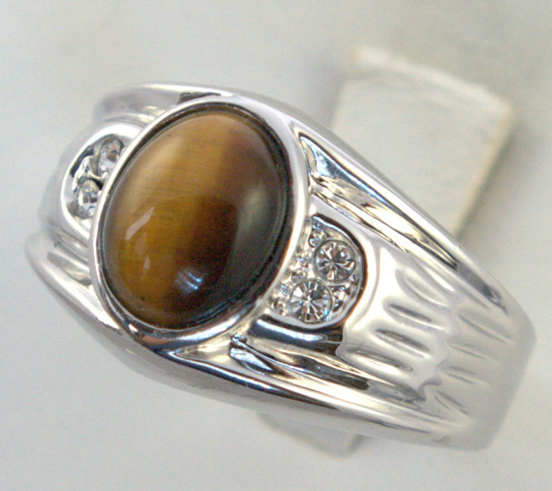 Tiger Eye 6.5 Carat Oval W/cz Mens Ring White Gold Overlay Size 11