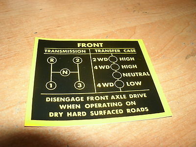 1979 1980 Jeep 3 Speed Shift Pattern Instructions Decal