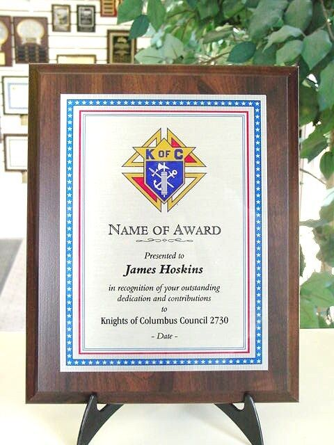 Knights Of Columbus Award Plaque Beautiful 9x12