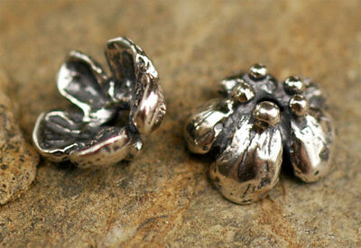 Handcrafted Sterling Silver PEONY Flower Bead Cap