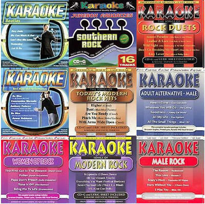 9 Rock Karaoke Cd Lot Beatles,foo Fighters,evanescence+