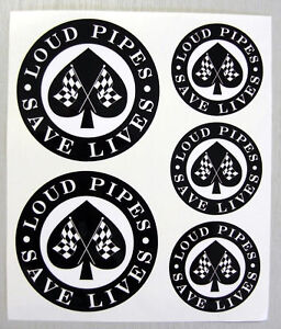 CAFE-RACER-Chequered-Flag-LOUD-PIPES-stickers-decals