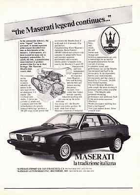 1984 MASERATI BITURBO  ~  NICE CLASSIC PRINT AD