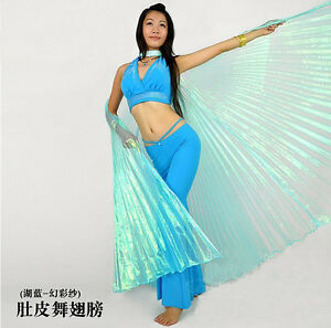 New-Belly-Dance-Costume-Isis-Wings-6-colours-Light-Blue