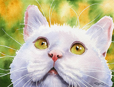 WHITE CAT Painting ART Print 8 x 10 Signed by Artist DJR