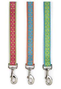 Polka-Dot-Dog-Leash-Lead-Nylon-Ribbon-green-pink-orange