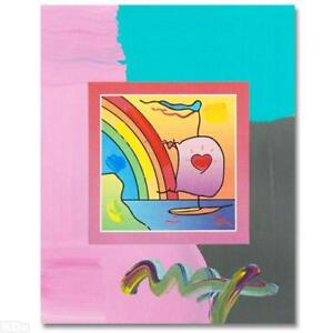 Peter-Max-Sailboat-with-Heart-Acrylic-Mixed-Media-Painting-on-Paper-W-COA