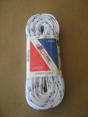 "Hockey Skate Laces 130"" - 330cm WHITE WIDE WAXED"