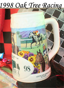 Oak Tree Horse Racing Beer Mug Santa Anita California Race