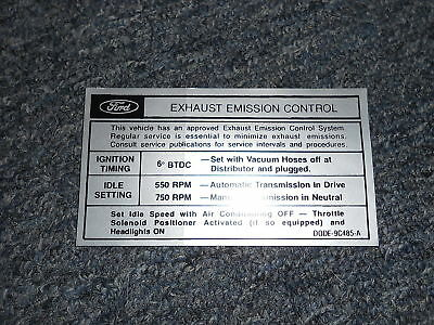 1970 Ford Falcon 6 Cylinder Emissions Decal Mid Product