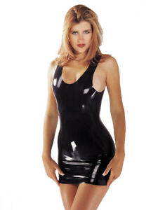 Latex-Mini-Dress-by-Sharon-Sloane-Black