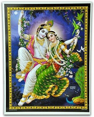 "KRISHNA AND RADHA IN A SWING - 15"" X 20"" POSTER - NEW"