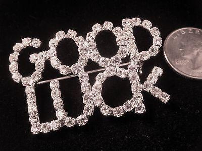 Good Luck Rhinestone Pin-job Promotion-weddings- 2 1/4 Inches
