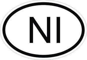 NI NORTHERN IRELAND COUNTRY CODE OVAL STICKER bumper