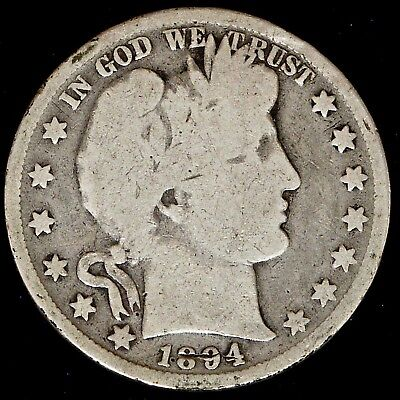 1894 P BARBER 90 SILVER HALF DOLLAR GOOD CIRC.