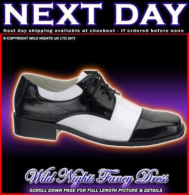 Fancy Dress Mens 1920's Gangster Shoes Med 9-10