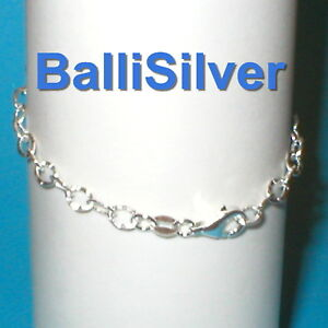 3-St-Silver-4x6mm-HAMMERED-Oval-Cable-Chain-ANKLETS-Lot