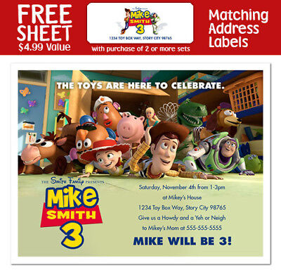 8 Toy Story 3 Movie Birthday Party Invitations