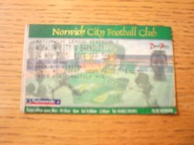 24/11/2001 Ticket: Norwich City v Barnsley  (Creased &