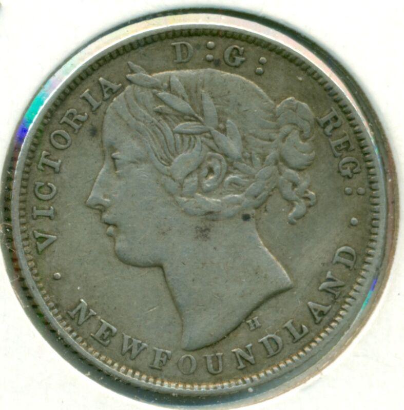 1872-H NEWFOUNDLAND TWENTY CENTS, VERY FINE-EXTRA FINE, GREAT PRICE!