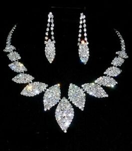 Diamante Leaf Wedding Bridal Prom Jewellery Set