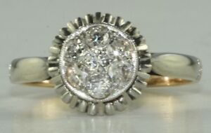 FRENCH ANTIQUE 18K GOLD PLATINUM .70 CARAT DIAMOND RING