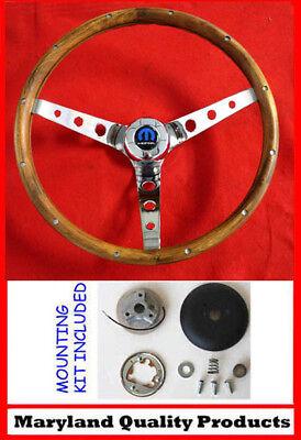 1970's Dodge Dart Charger Demon Wood Steering Wheel Walnut 13 1/2 Mopar Cap
