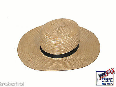 Authentic Amish Straw Hat Size 7 5/8 Usa Made