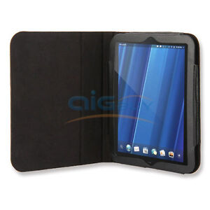 Black Leather Flip Case With Stand For HP TouchPad Tablet