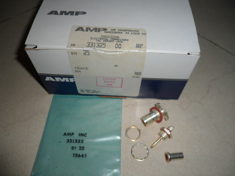 New AMP Tyco TNC Series Jack Coaxial Coaxicon Cable RF Connectors 331325 Qty. 25