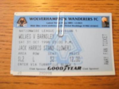 31/10/1998 Ticket: Wolverhampton Wanderers v Barnsley