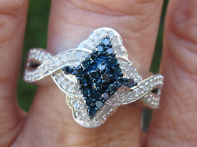 .65ctw Natural White & Natural Blue Diamond Ring Sparkles Nice, Size 7, Heavy
