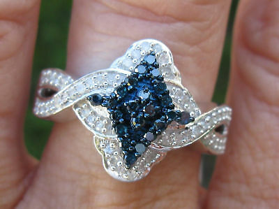 .65ctw Natural Blue Diamond Ring With White Diamonds, Marquise Shape, Size 8