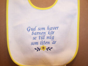 Sweden Swedish Children's Prayer Baby Bib Embroidered
