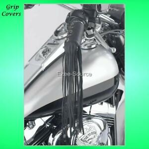 Leather-Motorcycle-Throttle-Grip-Covers-w-Fringe-12