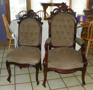 Pair-Walnut-Carved-His-Her-Parlor-Chairs-Sidechair-Armchair-SC203