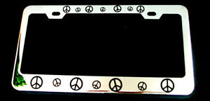PEACE SIGN SIGNS Metal License Plate Frame New