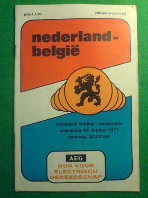 PROGRAMME - Holland v Belgium - 26 Oct 1977